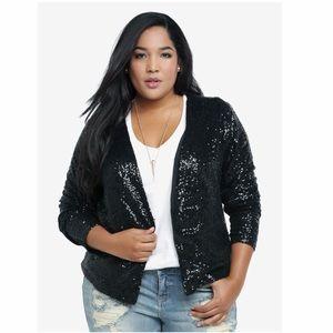 Torrid / Drape Front Sequin Jacket 24